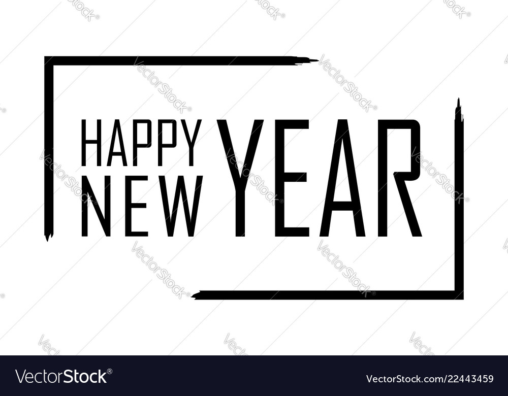 Happy new year text in focus frame black border