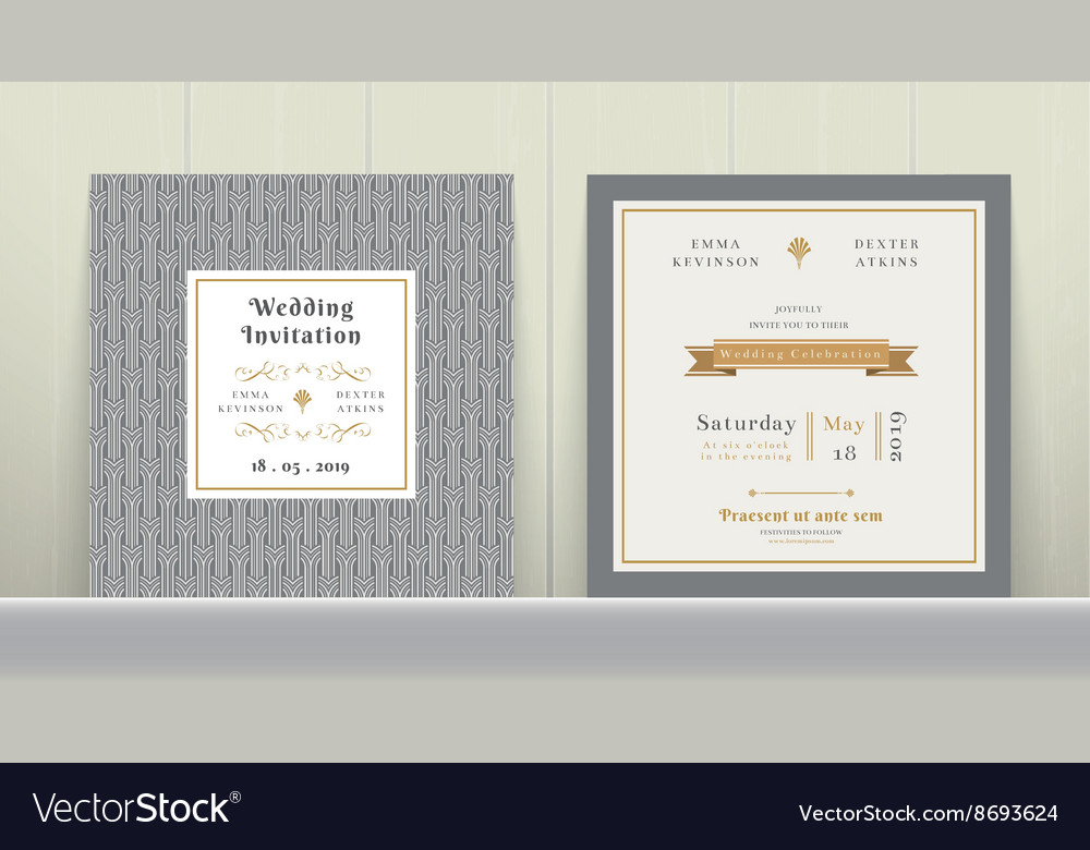 Art Deco Wedding Invitation Card in Gold and Gray Vector Image