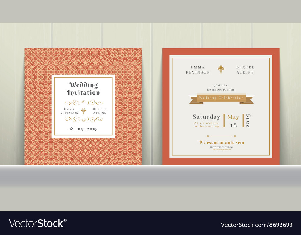 Art Deco Wedding Invitation Card Royalty Free Vector Image
