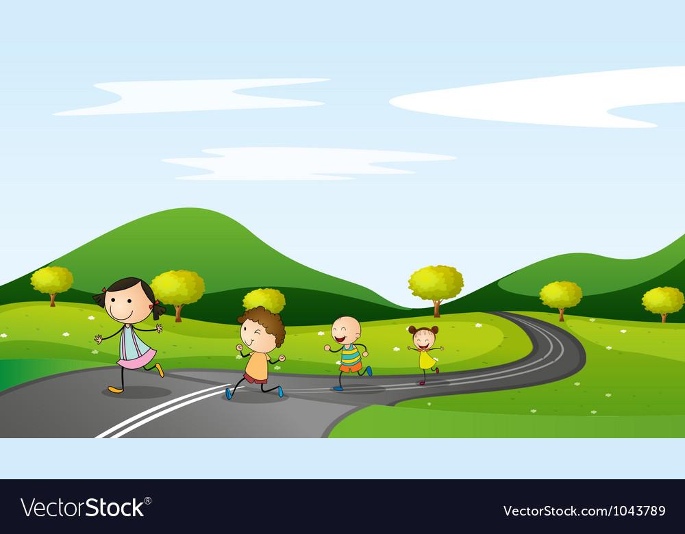 Kids walking background vector image on VectorStock