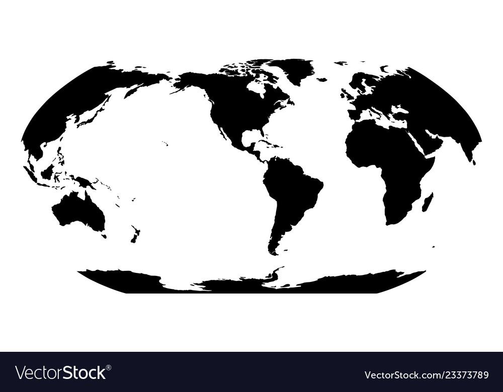 World map in robinson projection americas Vector Image