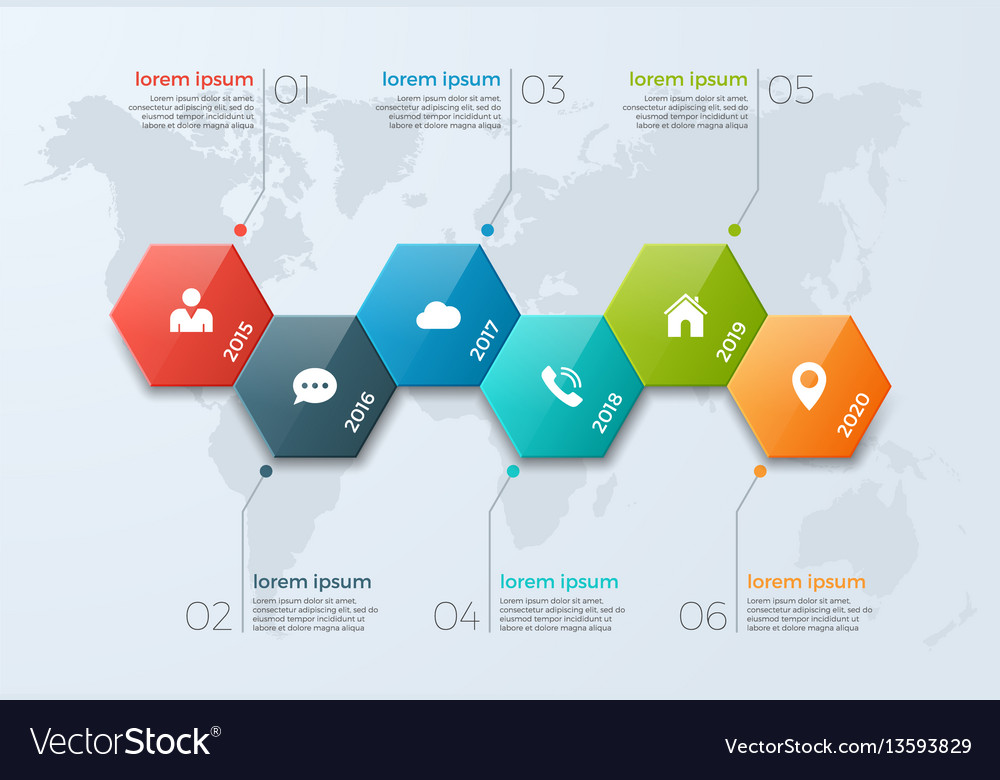 Timeline chart infographic template with 6 options - template for timeline chart