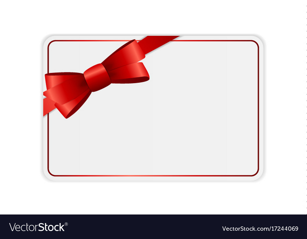 Blank gift card template with bow and ribbon Vector Image