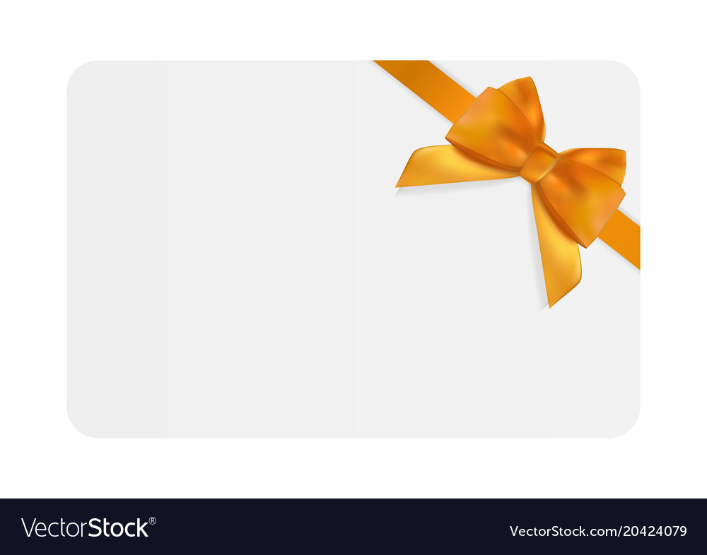 Blank gift card template with orange bow and Vector Image