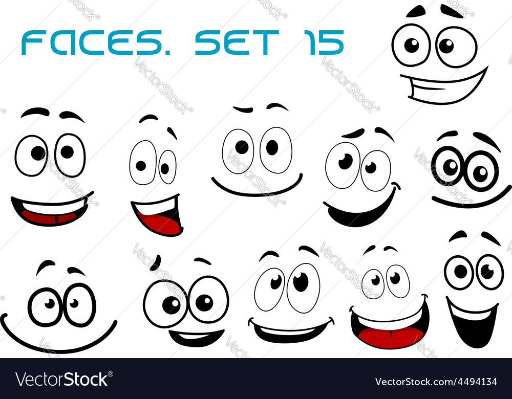 Cartoon laughing faces with googly eyes Royalty Free Vector