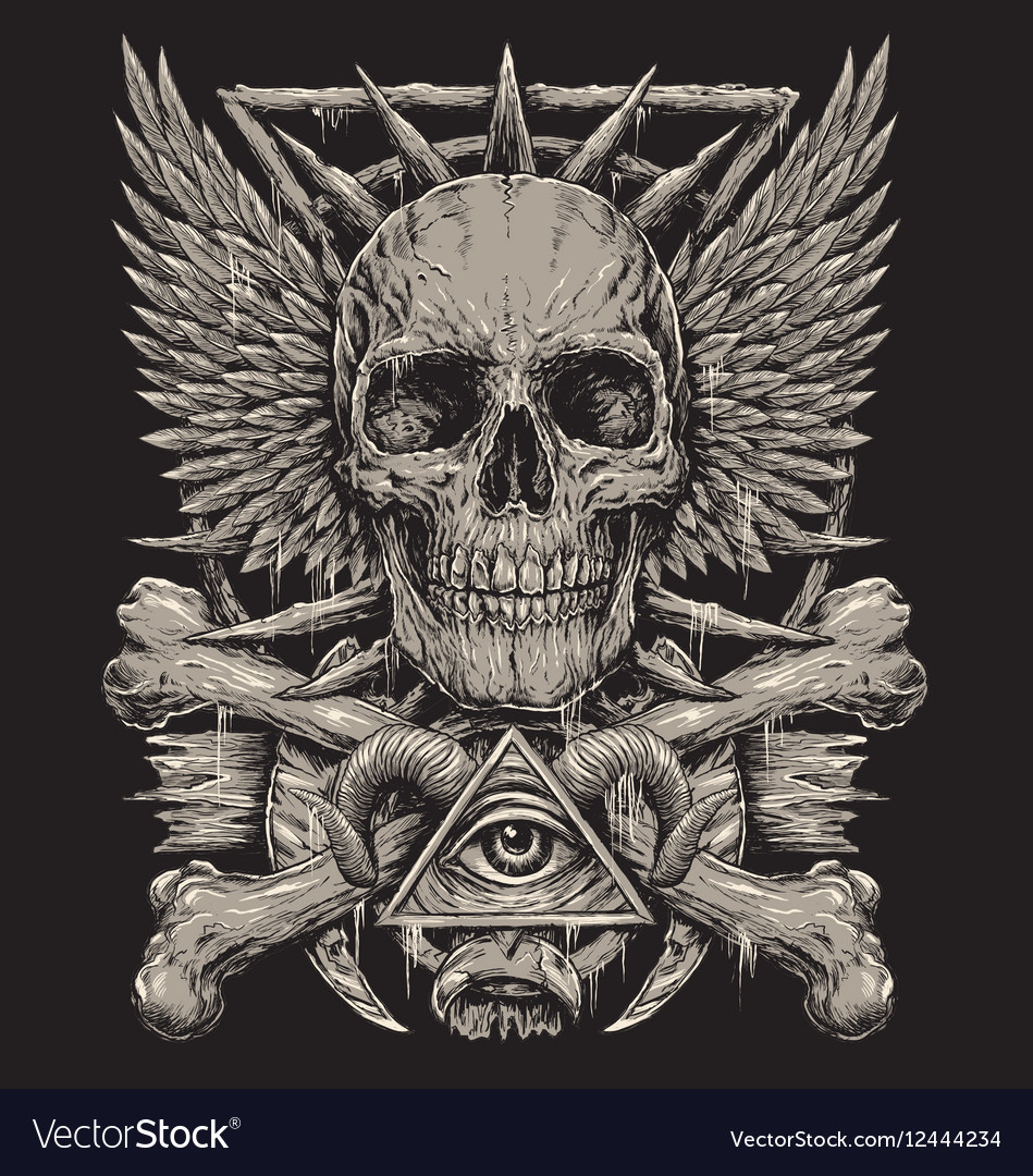 On Heavy Metal Heavy Metal Inspired Skull Design Vector Image On Vectorstock