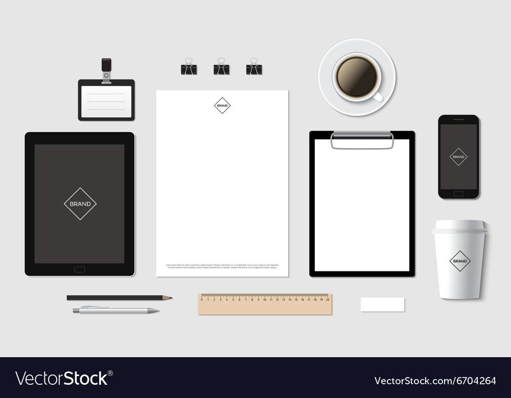 Blank branding template mockup for CI Royalty Free Vector