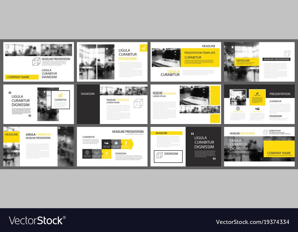 Yellow presentation templates and infographics Vector Image - presentation templates