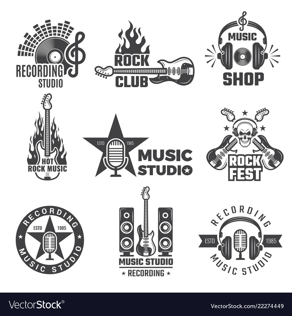 Rock Music Cover Black Music Labels Vintage Vinyl Cover Record