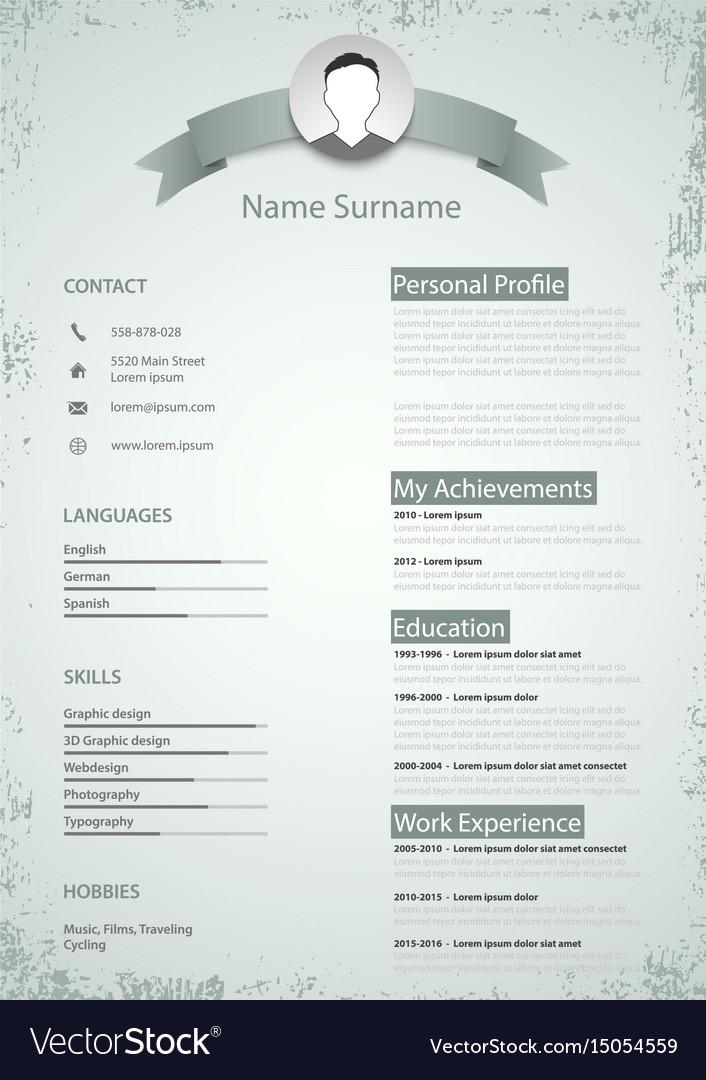 Professional colored resume cv in retro style Vector Image
