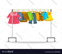 Kids clothes hanging on hanger rack Royalty Free Vector