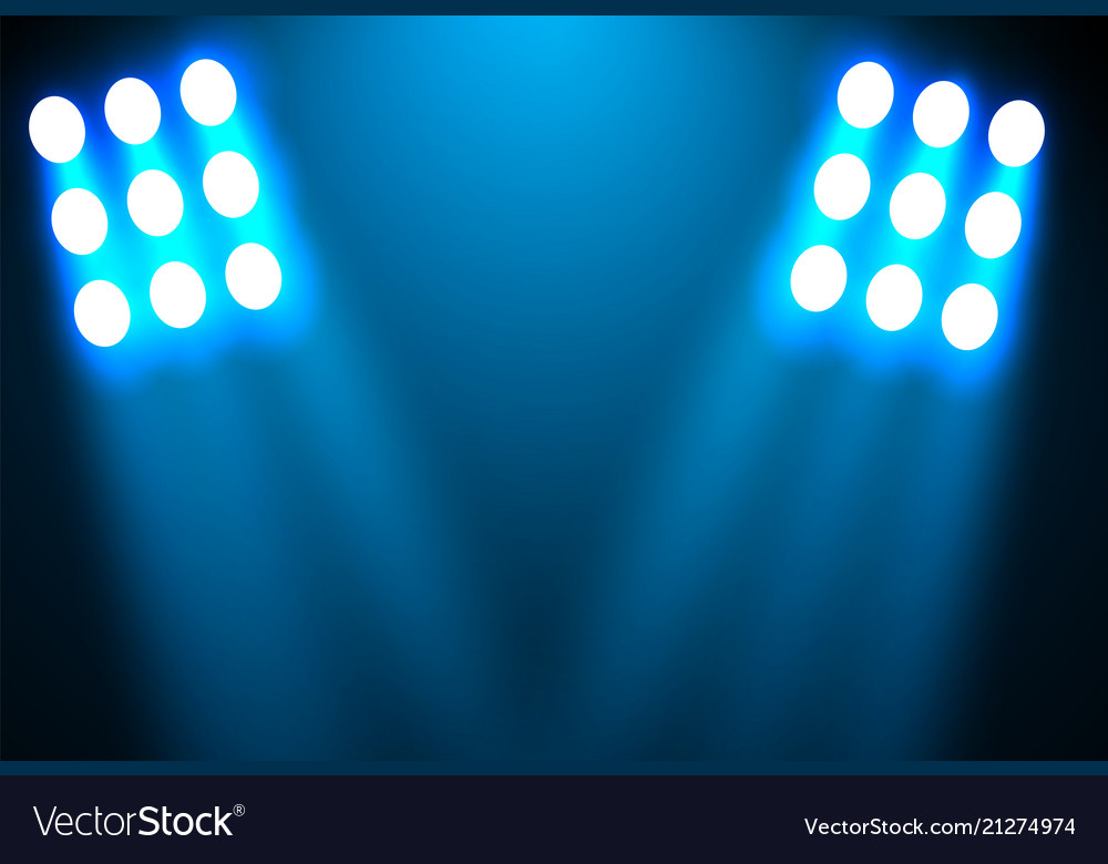 Spotlight on a black background the blue light Vector Image