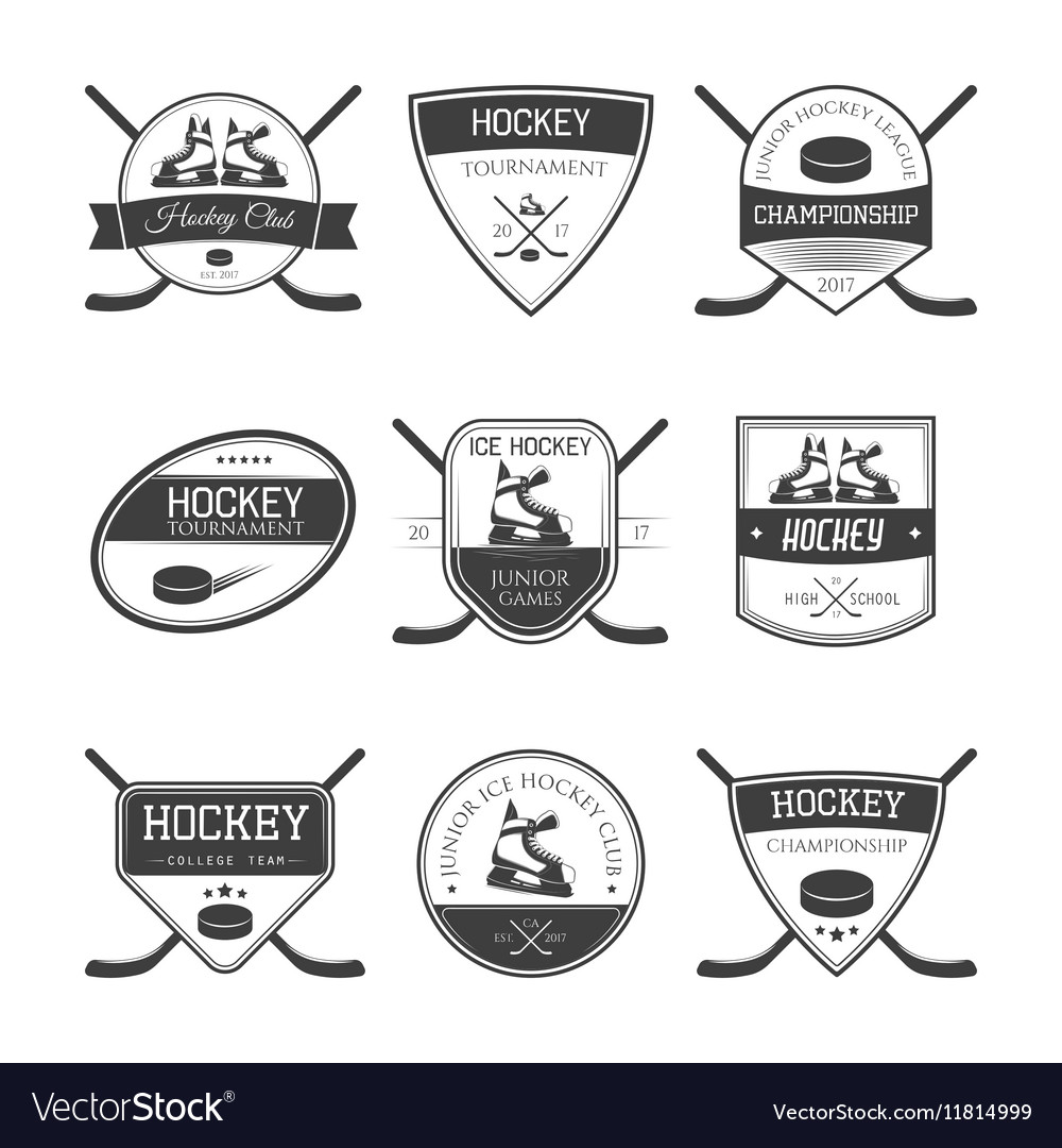 Hockey Logos Set Of Ice Hockey Logos