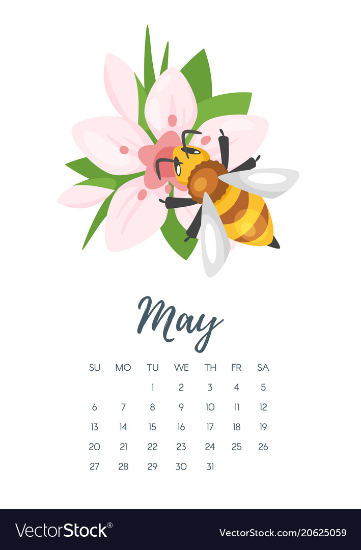 May 2018 year calendar page Royalty Free Vector Image