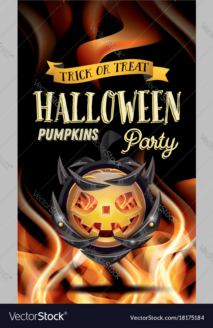 Halloween party flyer with pumpkin and fire flames