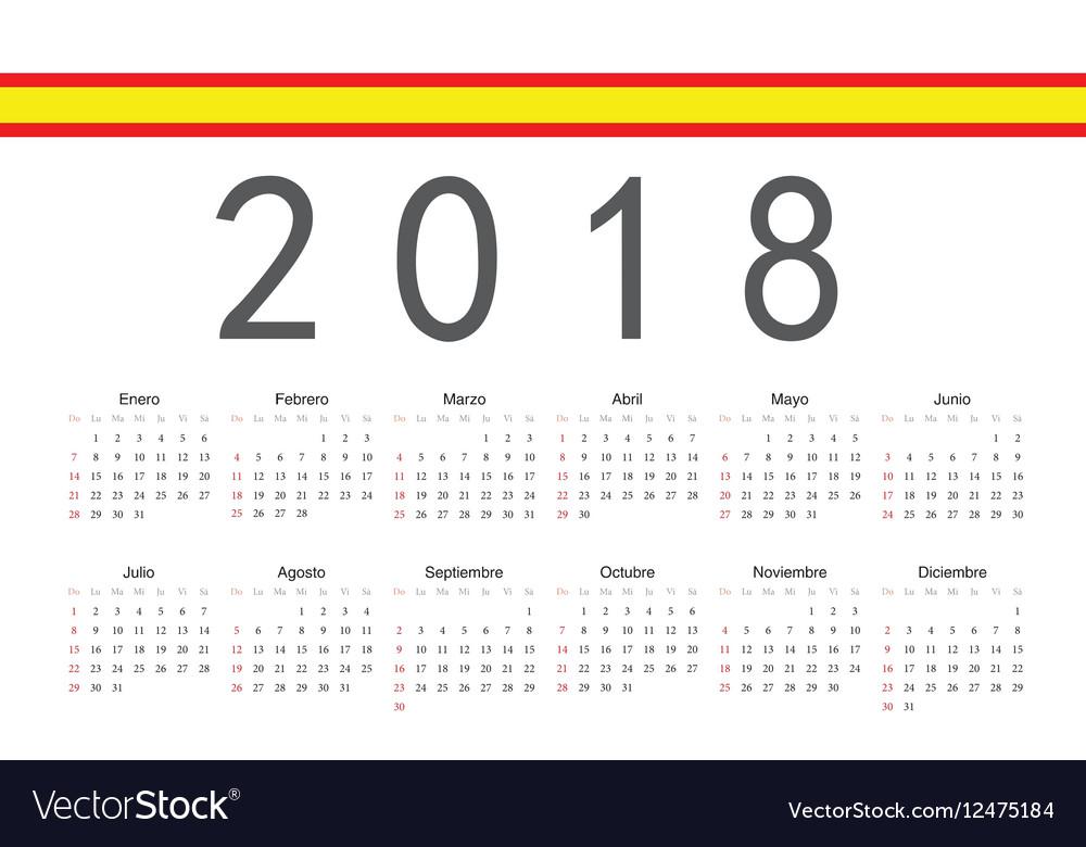 Spanish 2018 year calendar Royalty Free Vector Image