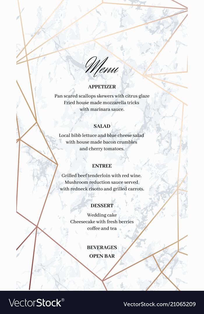 Wedding menu template card of geometric design Vector Image - wedding menu template