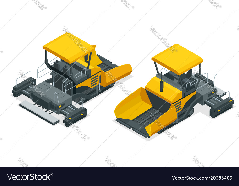Isometric asphalt paver asphalt spreading machine Vector Image