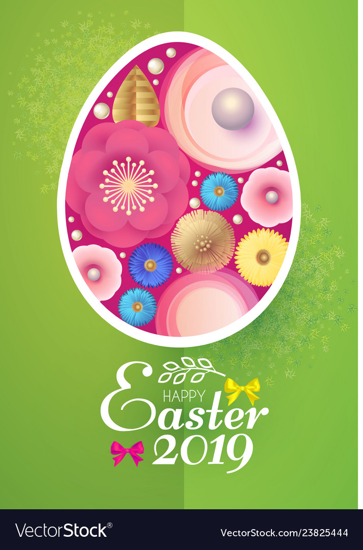 Happy easter card template with egg desorated with