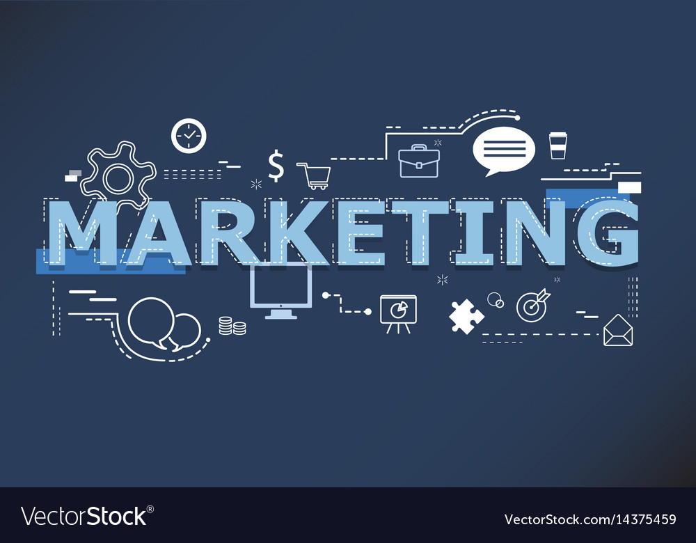 Creative of marketing word lettering typography Vector Image