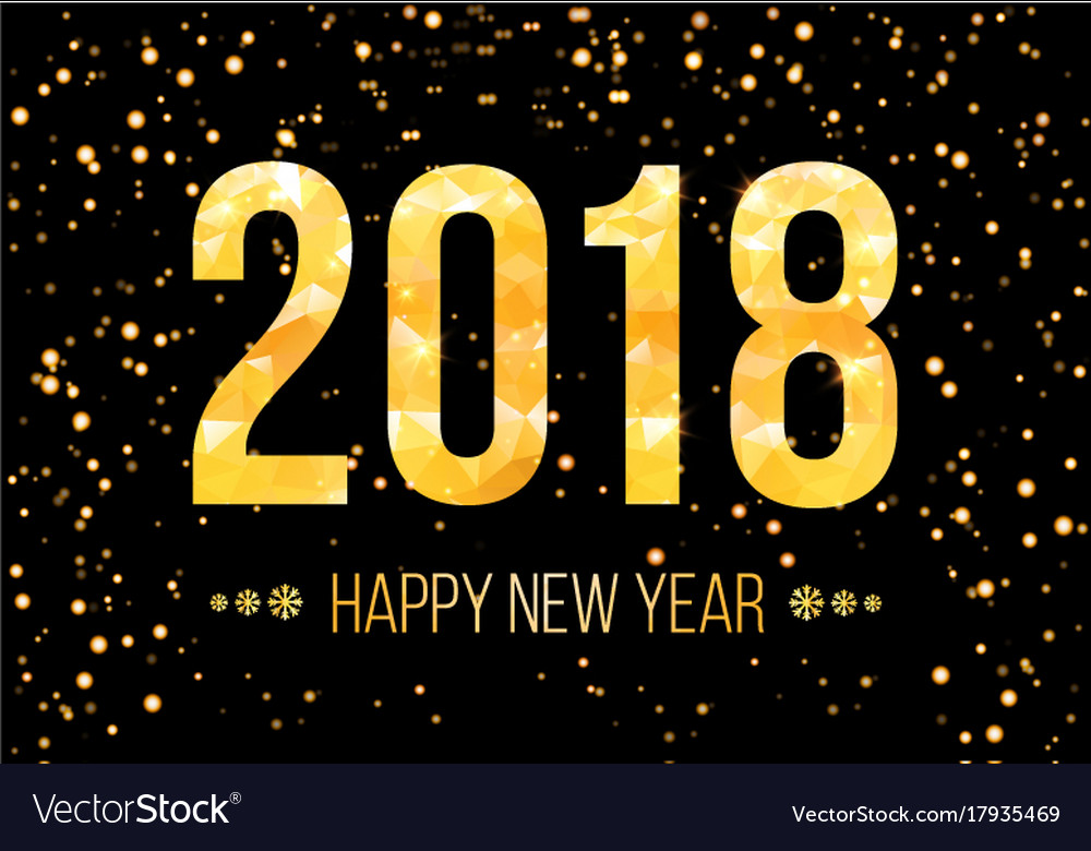 2018 happy new year background golden Royalty Free Vector