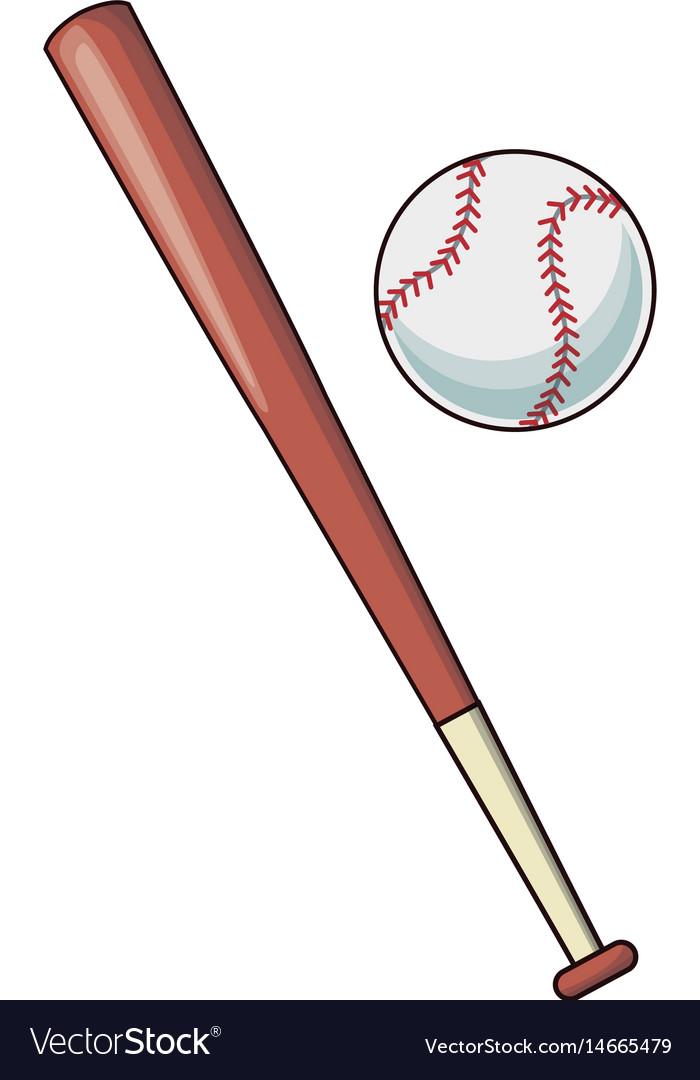 Baseball bat and ball sport play image Royalty Free Vector