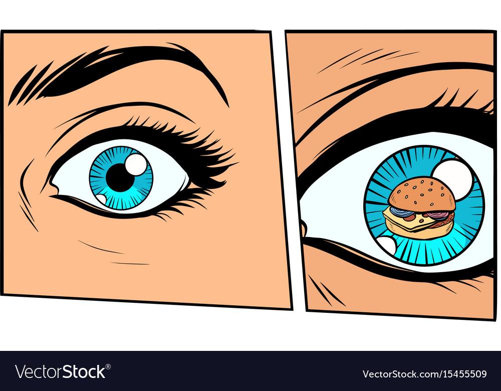 Comic storyboard hungry woman and burger Vector Image
