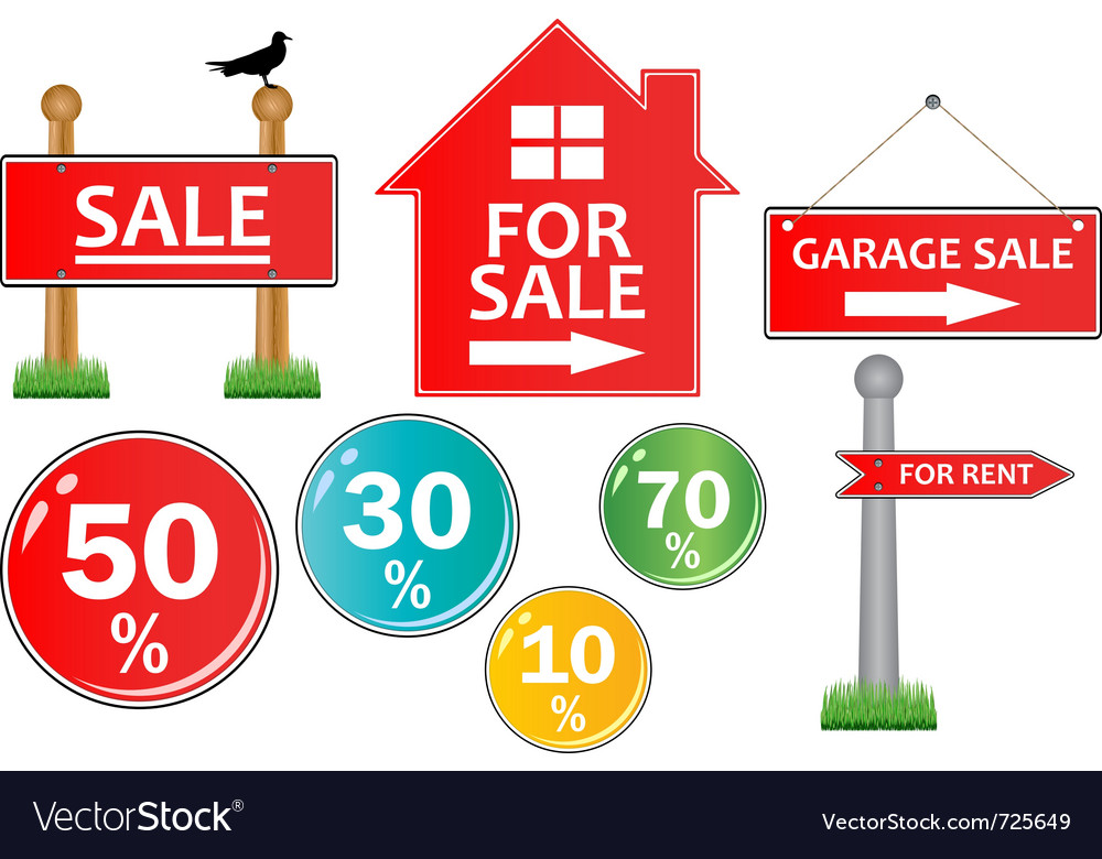 For sale signs Royalty Free Vector Image - VectorStock