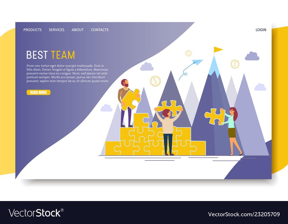 Best team landing page website template Royalty Free Vector