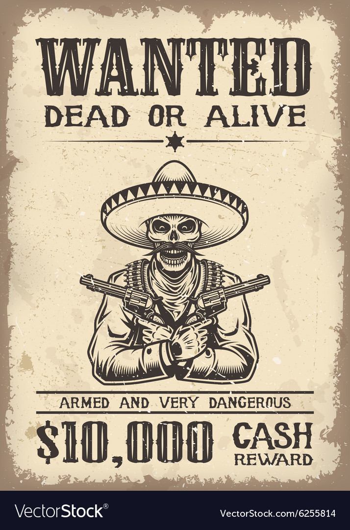 Vitage wild west wanted poster Royalty Free Vector Image
