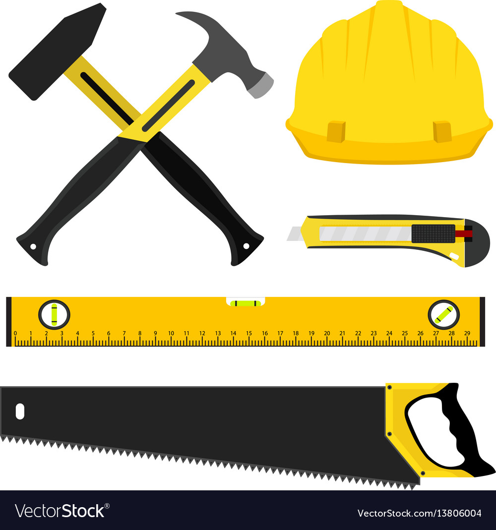 Construction Repair Set Of Repair Construction Tools Worker Kit In Vector Image On Vectorstock