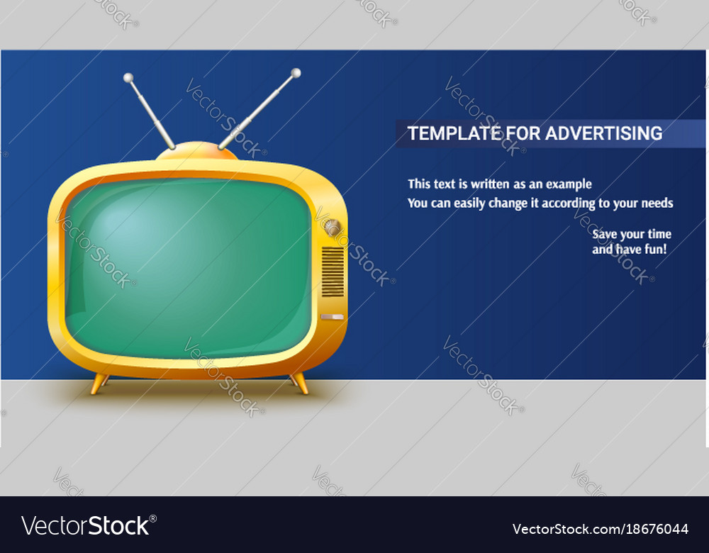 Poster template with retro yellow tv set for Vector Image