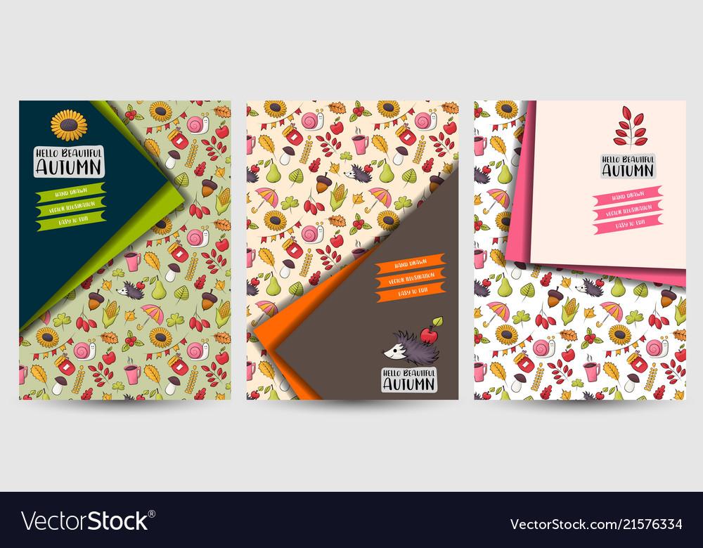 Autumn season set of flyers printable brochure vector image on VectorStock