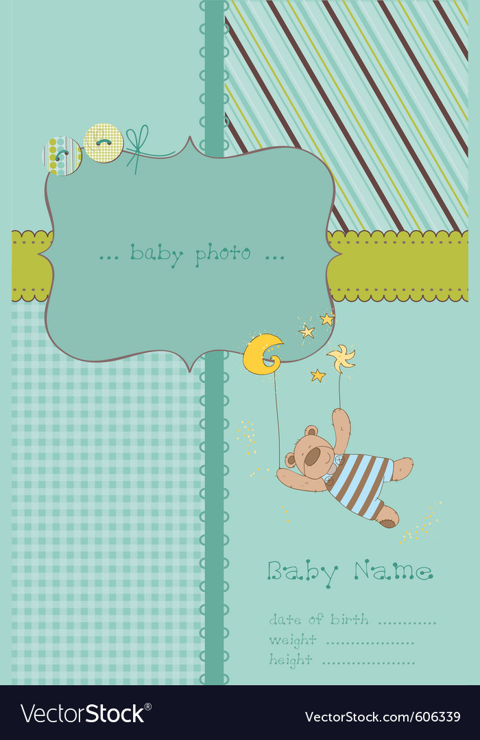 Baby boy arrival card with photo frame and place f