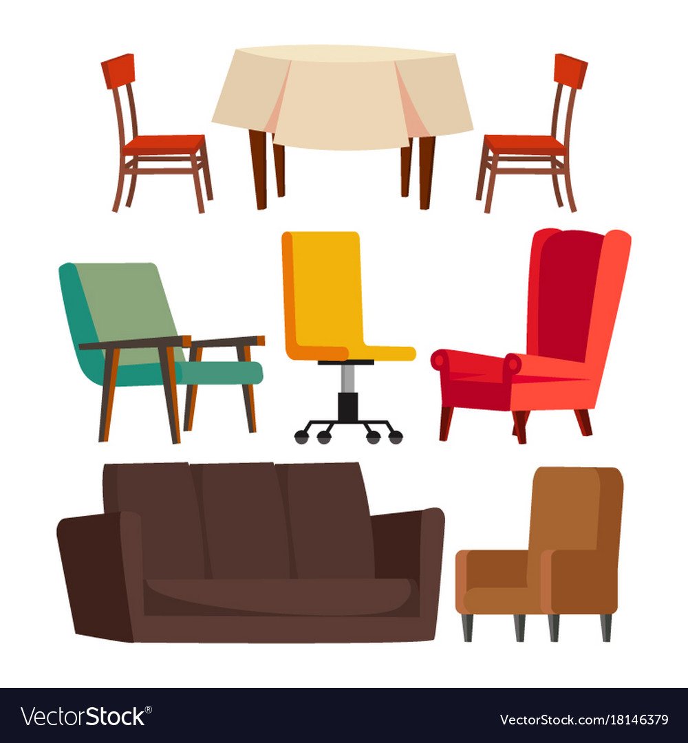 Sofa Set Vector Png Cartoon Furniture Set Sofa Chair Table