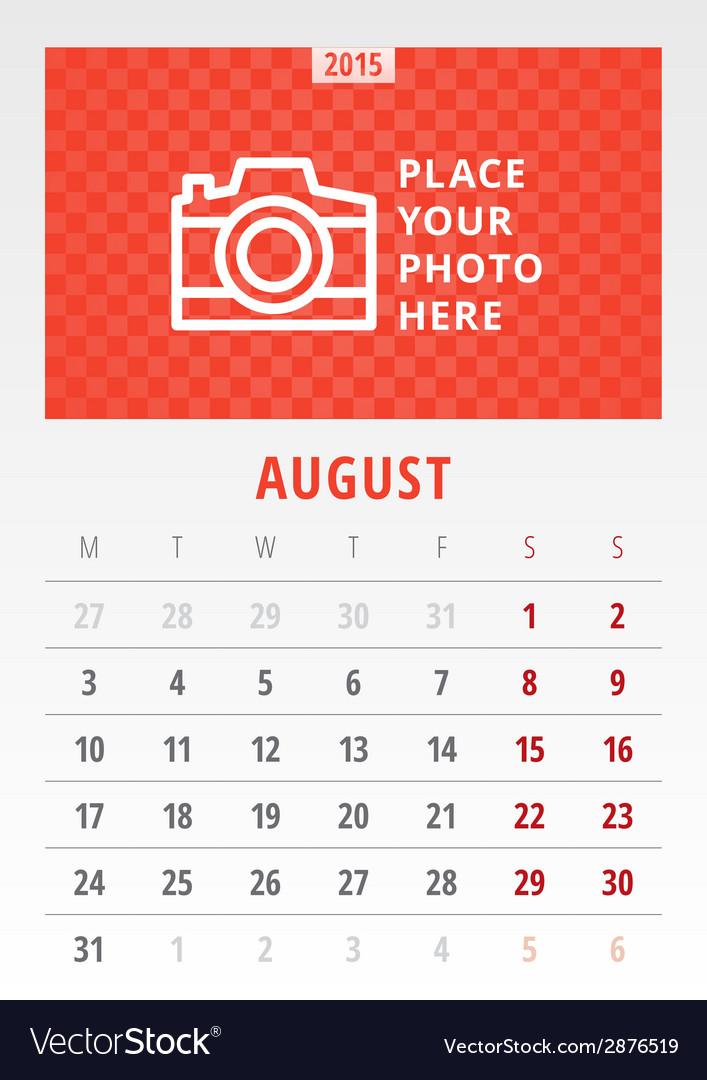 Calendar 2015 template week starts monday vector image on VectorStock