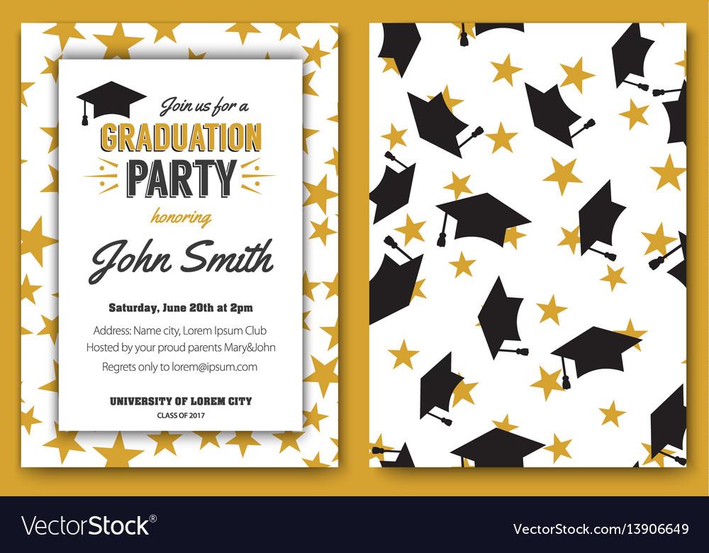 Graduation party template invitation Royalty Free Vector