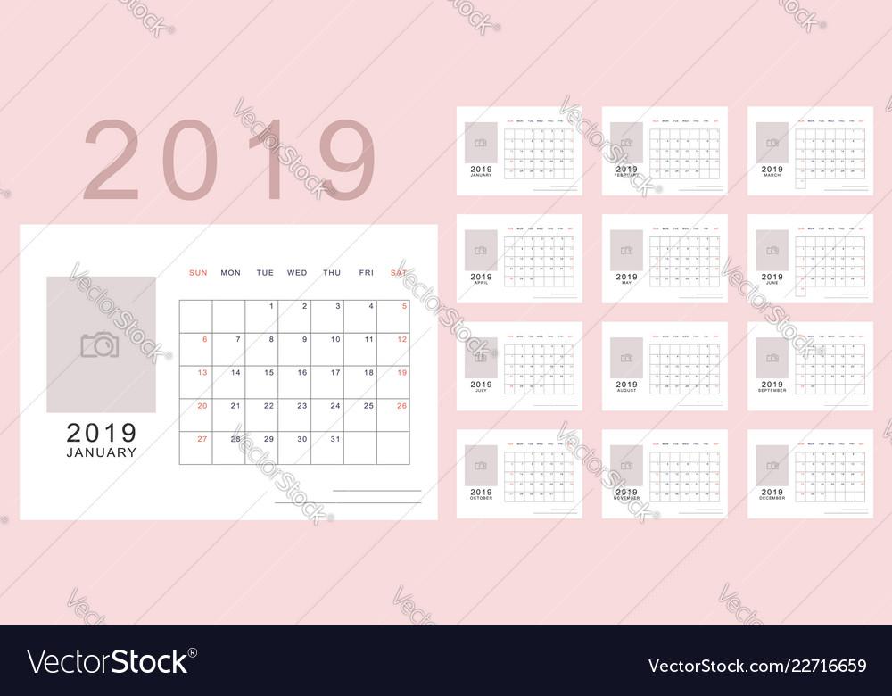 Light pink minimalistic calendar of new 2019 year Vector Image
