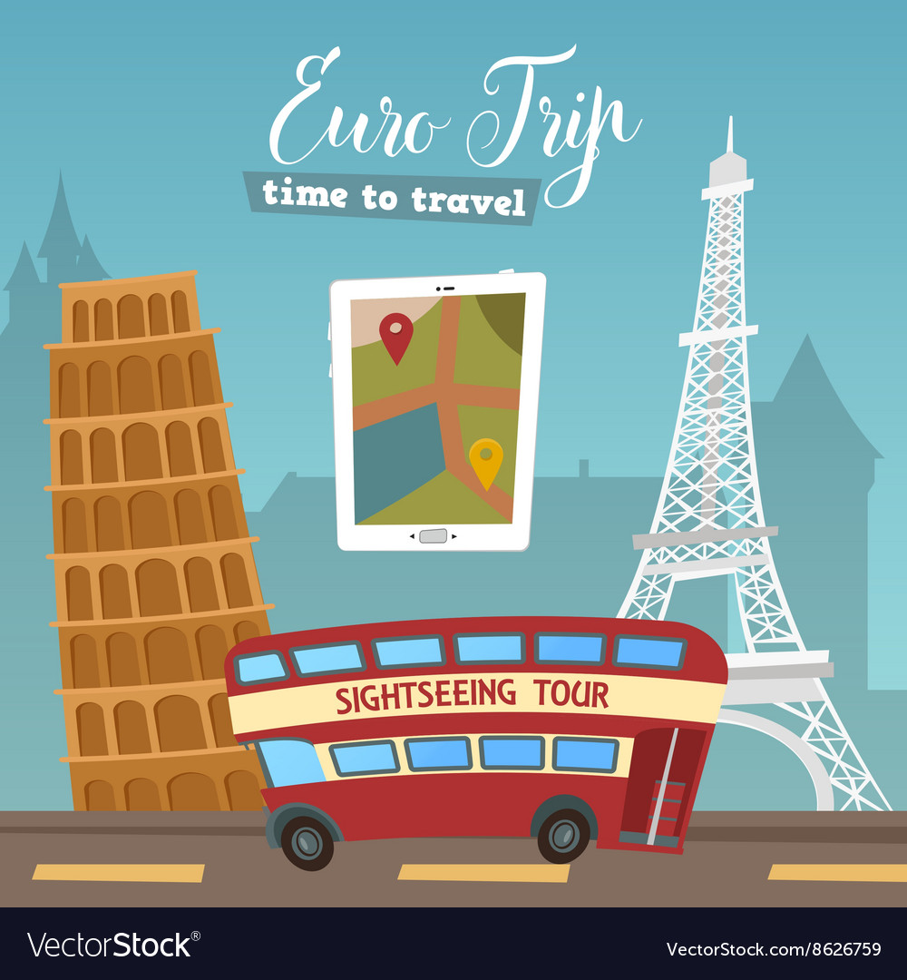 Trip Travel Time To Travel By Bus Euro Trip Travel Banner