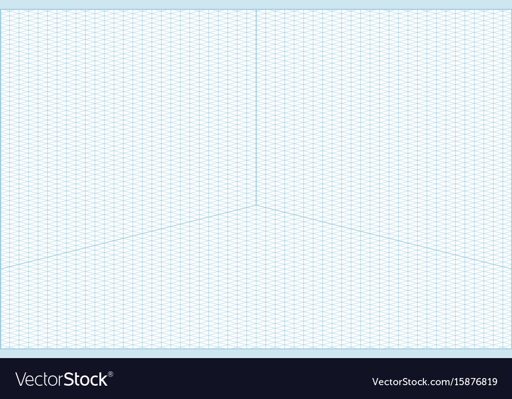 Wide angle isometric grid graph paper background Vector Image