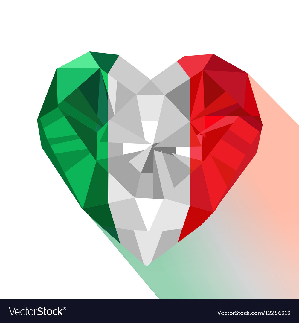 Italy Design Jewelry Crystal Gem Jewelry Italian Heart With The Flag Of
