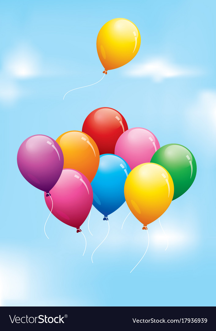 Colourful balloons floating in a cloudy sky Vector Image