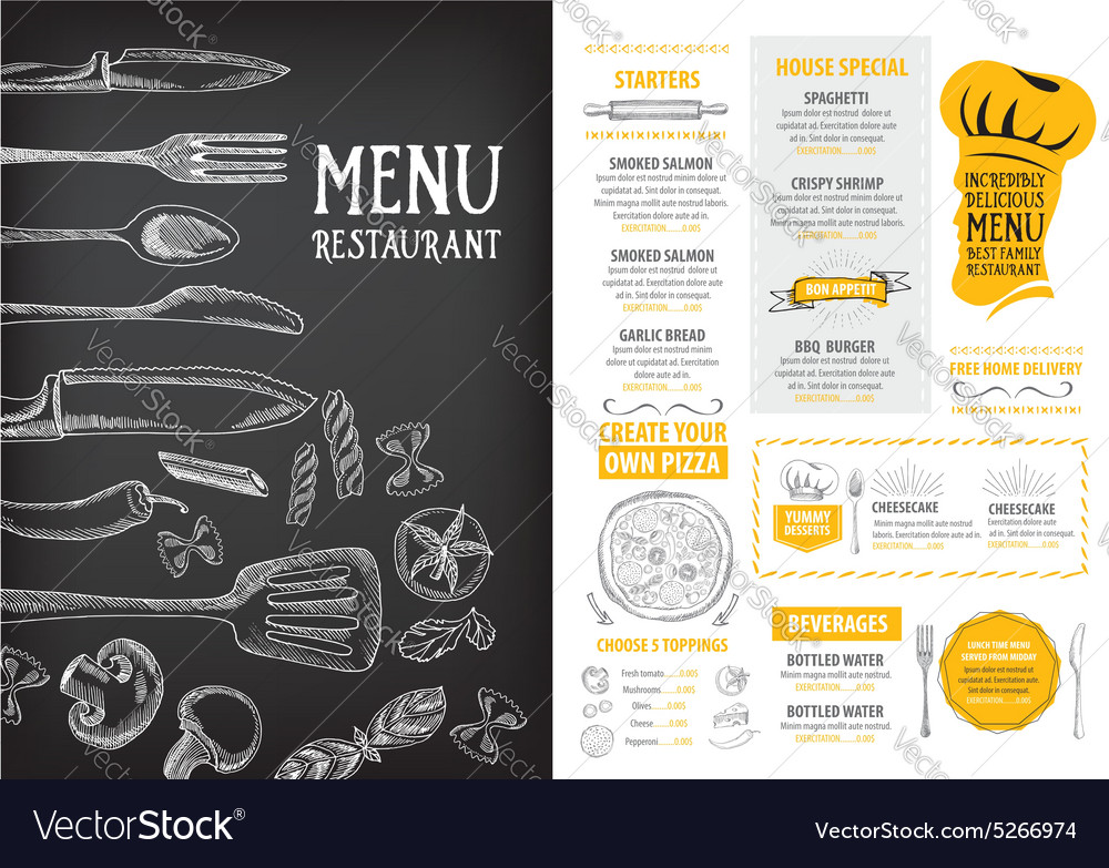 Restaurant cafe menu template design Food flyer Vector Image - Cafe Menu Template
