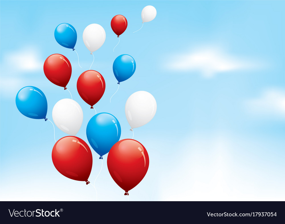 Red white and blue balloons floating in a cloudy Vector Image