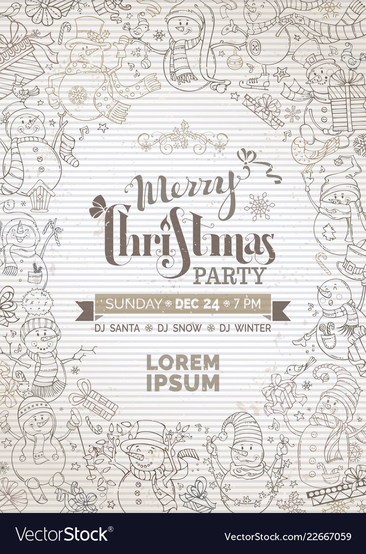Vintage christmas party invitation with cute Vector Image