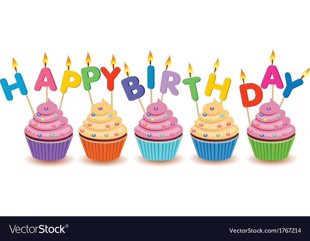 Happy birthday cupcakes card Royalty Free Vector Image