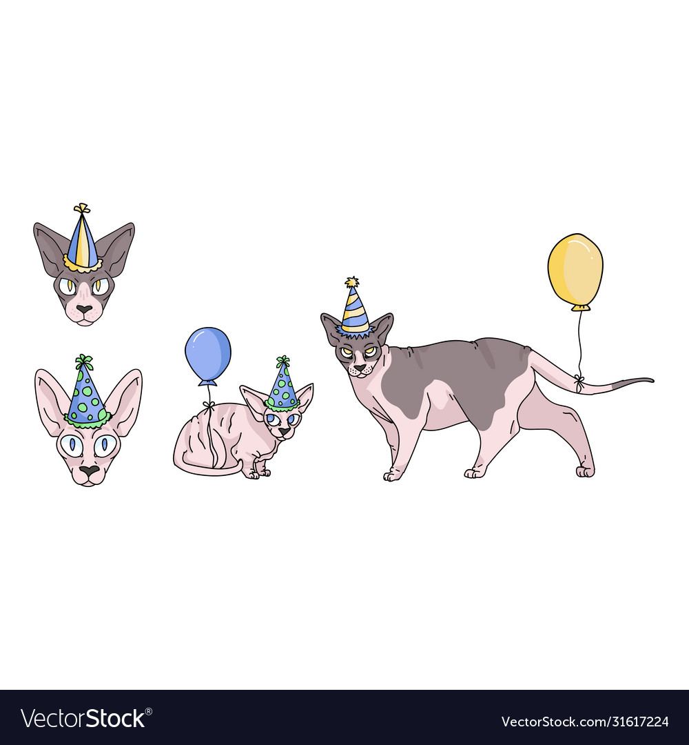 Cute Cartoon Sphynx Cat Party Set Clipart Vector Image