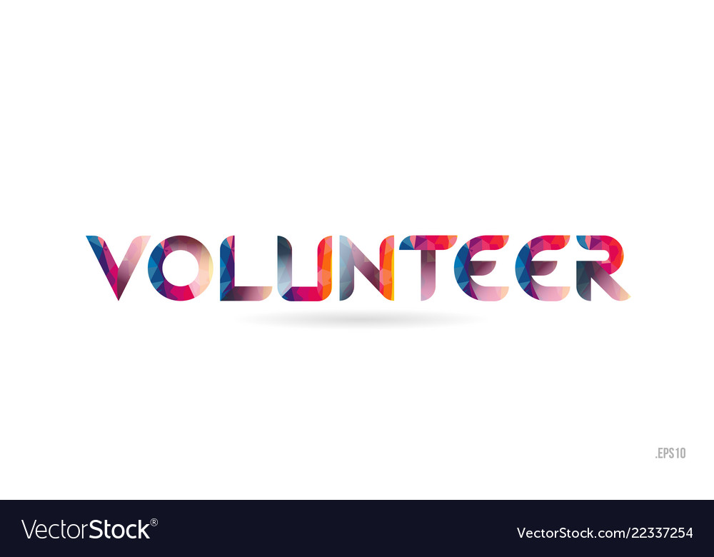 Volunteer colored rainbow word text suitable for Vector Image