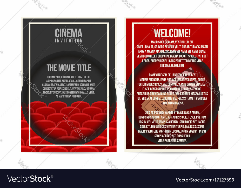 Cinema poster invitation flyer template a4 size Vector Image - invitation flyer template