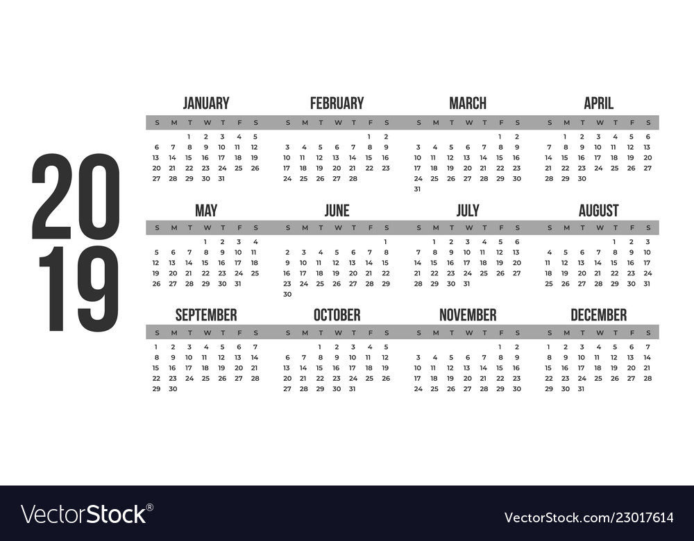 2019 new year calendar in clean minimal table Vector Image